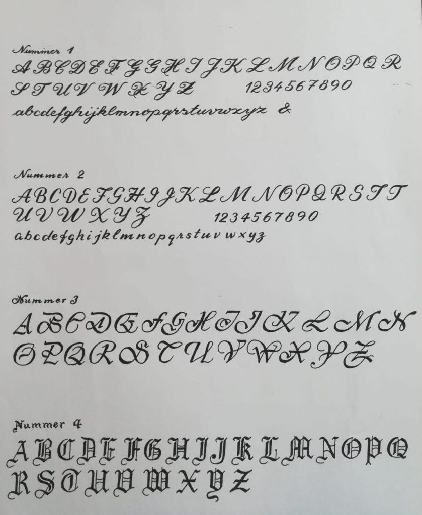 Handgravur Schriftarten
