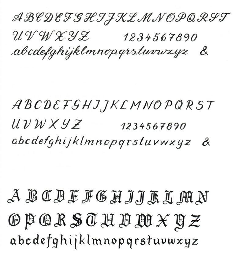 Schriftmuster Handgravur München